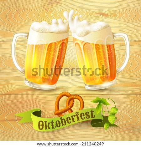 Glass mug of beer pretzel and hop branch on wooden background Oktoberfest poster vector illustration