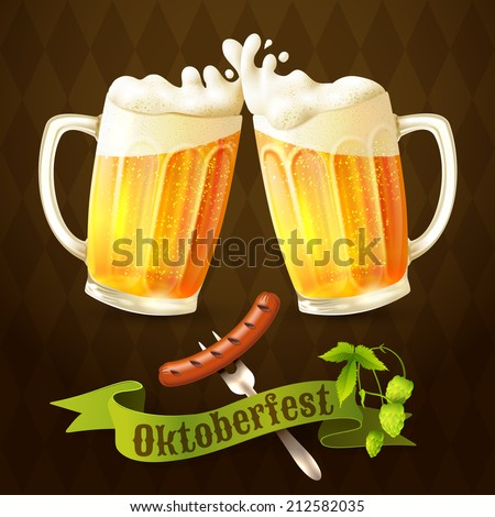 Glass mug of light beer with sausage and hop branch Oktoberfest poster vector illustration. - stock vector