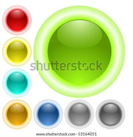 Glass neon glow buttons - stock vector