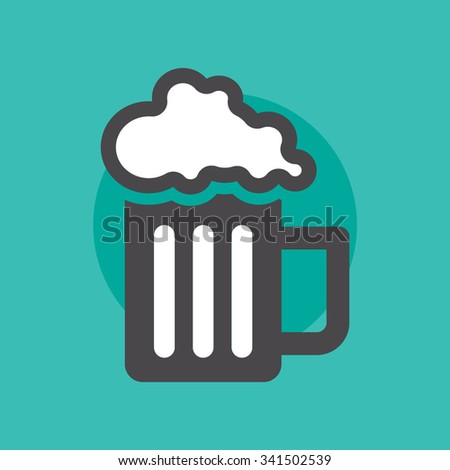 Glass of beer / Beer icon / Bar icon / Pub icon / Lager icon / Drink icon / Pint icon / Beer pictogram / Liquid icon / Party icon / Tavern icon / Celebrate icon / Holiday icon / Cafe icon - stock vector