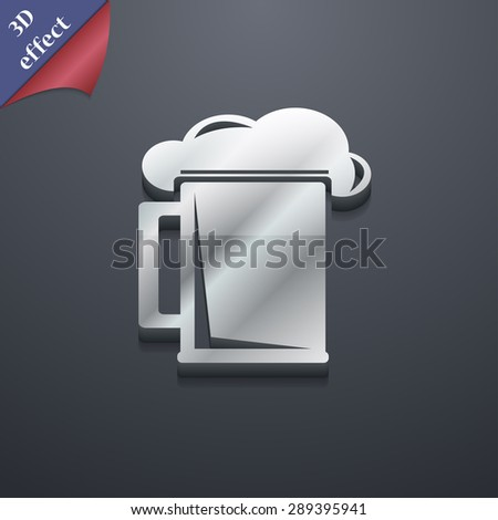 glass of beer icon symbol. 3D style. Trendy, modern design with space for your text Vector illustration - stock vector
