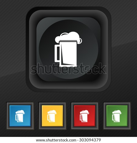 glass of beer icon symbol. Set of five colorful, stylish buttons on black texture for your design. Vector illustration - stock vector