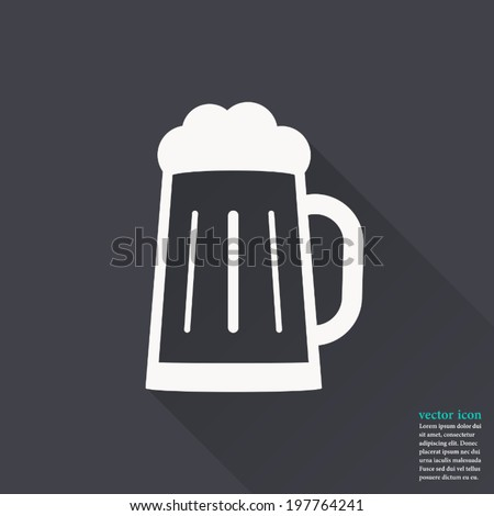 Glass of beer icon,Vector illustration flat design with long shadow - stock vector