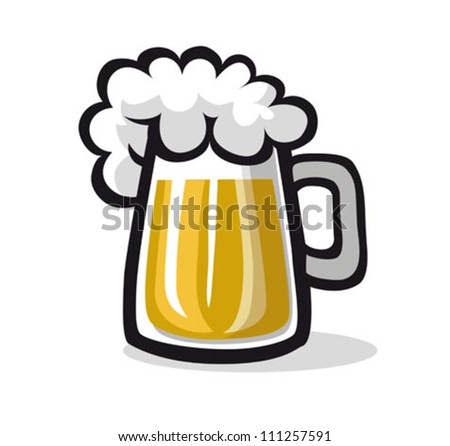 glass of beer, illustration - stock vector