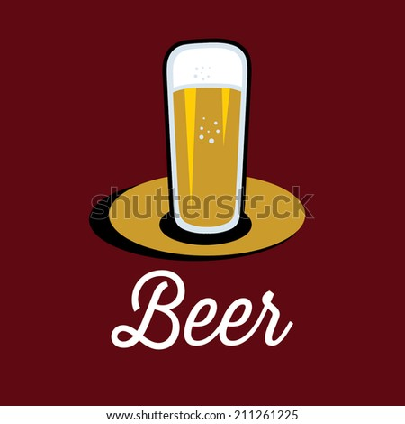 glass of beer on the table - stock vector