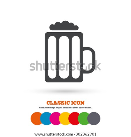 Glass of beer sign icon. Alcohol drink symbol. Classic flat icon. Colored circles. Vector