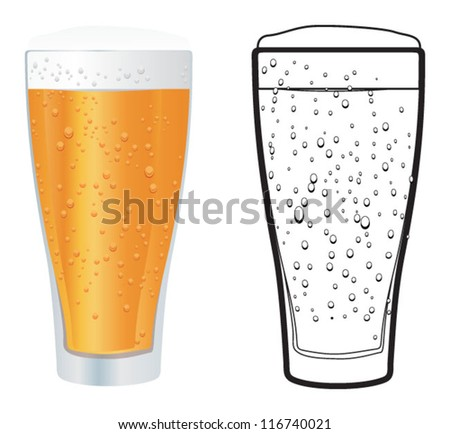 glass of beer, vector glass - stock vector