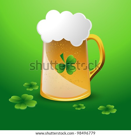 Glass of Beer with Clover Leaves
