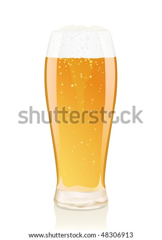 Glass of beer with foam and vials .Gradient only. Serie of images. You can find many various types of realistic vector illustrations of wine bottles in my portfolio. - stock vector