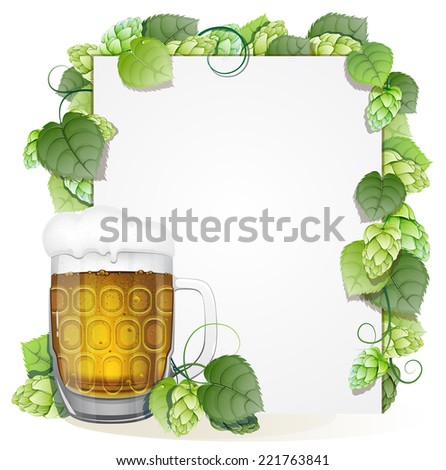 Glass of beer with foam cap and white background decorated with green hops branch. Abstract Oktoberfest background - stock vector