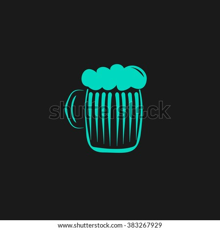 Glass of beer with foam. Flat simple modern illustration pictogram. Collection concept symbol for infographic project and logo - stock vector