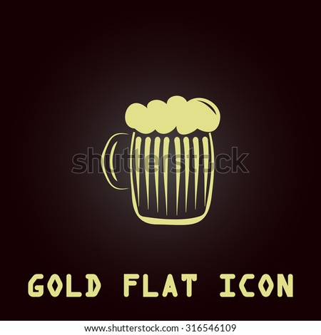 Glass of beer with foam. Gold flat vector icon. Symbol for web and mobile applications for use as logo, pictogram, infographic element