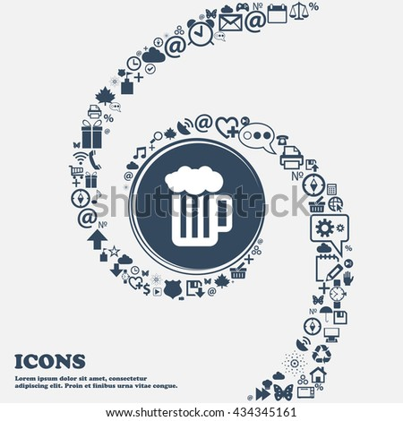 Glass of beer with foam icon in the center. Around the many beautiful symbols twisted in a spiral. You can use each separately for your design. Vector illustration - stock vector