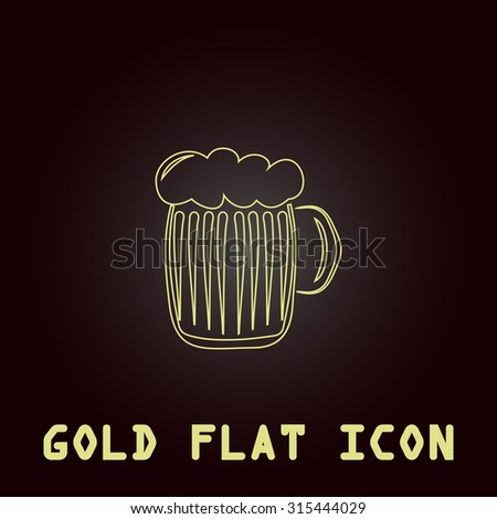 Glass of beer with foam. Outline gold flat pictogram on dark background with simple text.Vector Illustration trend icon