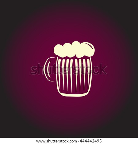Glass of beer with foam. White vector icon on dark background. Flat pictogram - stock vector