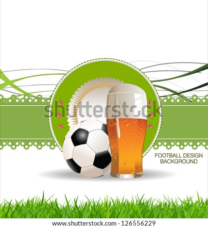 Glass of beer with soccer ball background - stock vector