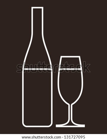 Glass of champagne and bottle - vector illustration - stock vector