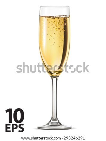 Glass of champagne isolated on white background. Vector illustration