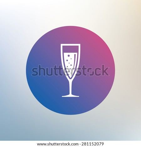 Glass of champagne sign icon. Sparkling wine with bubbles. Celebration or banquet alcohol drink symbol. Icon on blurred background. Vector - stock vector
