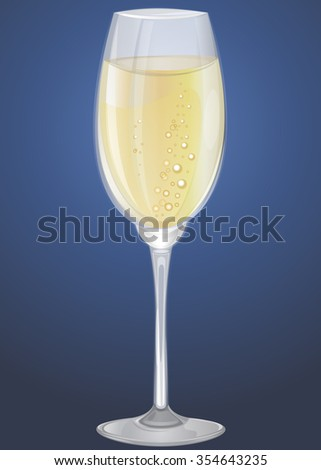 Glass of champagne (sparkling wine). Vector illustration. - stock vector