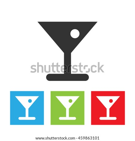 Glass of cocktail icon. Alcoholic beverage in glass with olive. Flat vector illustration.