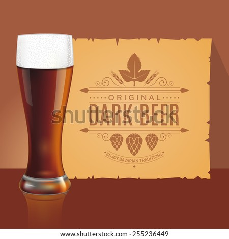 Glass of dark beer and old parchment with vintage label design. Vector - stock vector