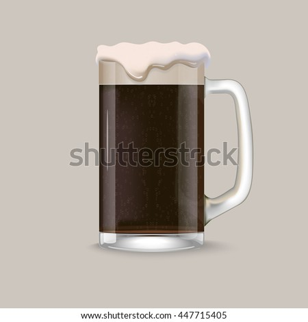 Glass of dark beer with foam and bubbles on grey background Realistic vector.