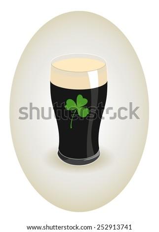 Glass of dark beer with shamrock - stock vector