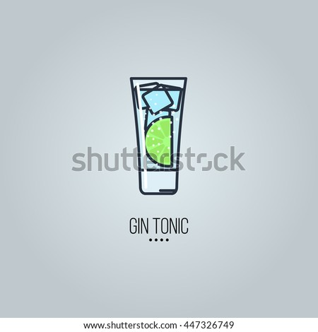 glass of gin tonic cocktail vector icon