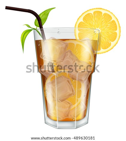 Glass of ice tea with lemon, ice cubes and tea leaves. Vector illustration.