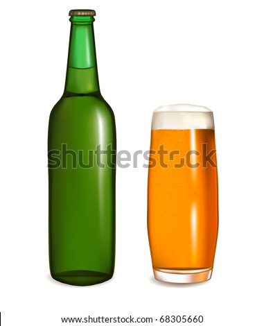 Glass of light beer with bottle. Vector illustration - stock vector
