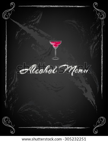 glass of martini. classic cocktail on chalk board - stock vector