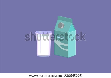Glass of milk and milk box vector