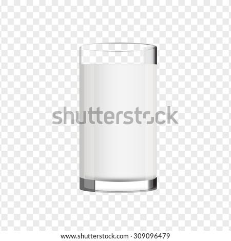 glass of milk vector - stock vector