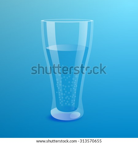 Glass of mineral water on blue background. Realistic vector illustration - stock vector
