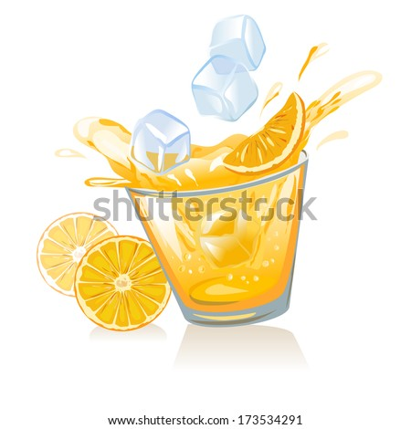 glass of orange juice and ice cubes. vector illustration - stock vector