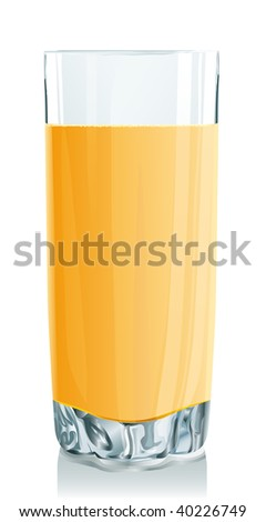Glass of orange juice. Vector illustration. Gradient only. No mesh. It is organised on levels. Serie of images. - stock vector