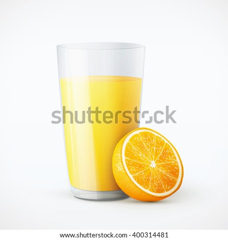 Glass of orange juice with fruit eps10 vector illustration