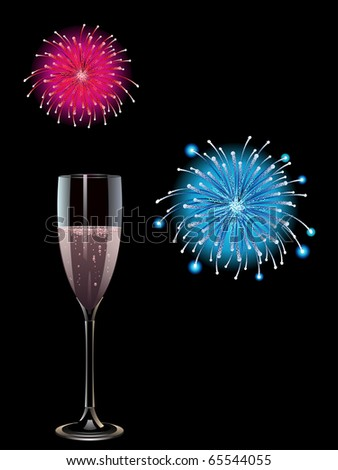 Glass of pink champagne with exploding fireworks - stock vector