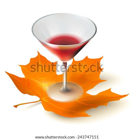 Glass of red drink on white background with yellow leaf. Vector illustration - stock vector