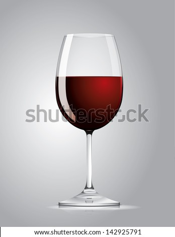 glass of red wine - stock vector
