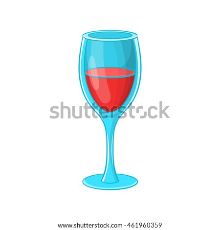 Glass of red wine icon in cartoon style isolated on white background