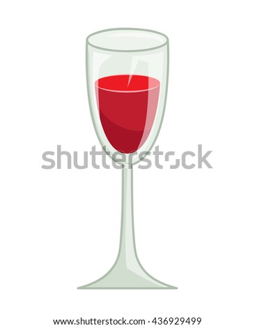 glass of red wine isolated illustration on white background