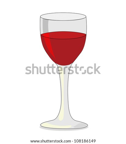 Glass of red wine isolated on white background - stock vector