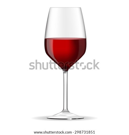 Glass of red wine - vector drawing isolated - stock vector