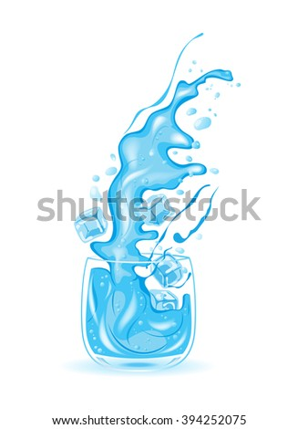 glass of water, ice water, vector illustration - stock vector