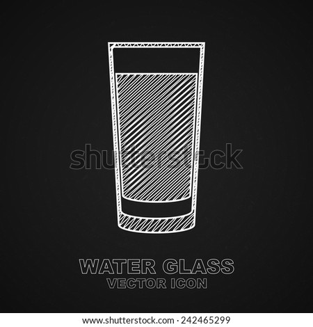 Glass of water icon on chalkboard background - Vector - stock vector
