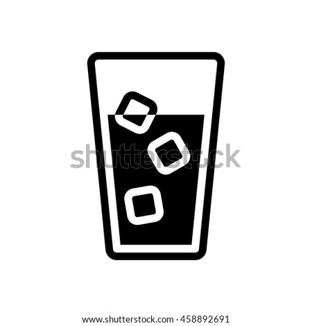 glass of water with ice cubes icon