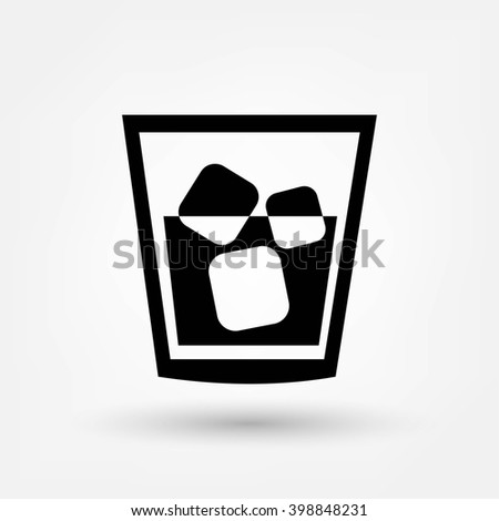Glass of whiskey with ice - stock vector