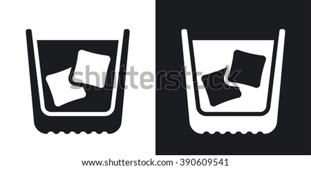 Glass of whiskey with ice, stock vector. Two-tone version on black and white background - stock vector
